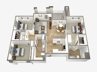 A 3D rendering of an apartment shows the floorplan/layout of the living spaces